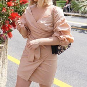 Dresses - Nude wrap dress